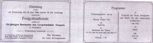 Invitation to the 50th Jubilee of the establishment of the Leopoldstadt Temple